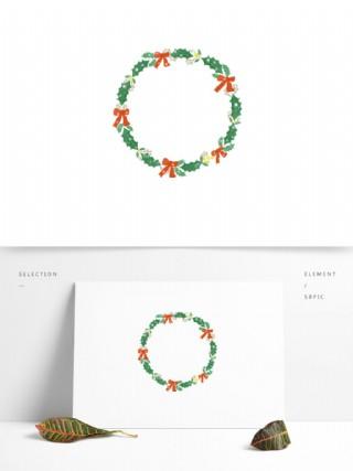 手繪圣誕可愛蝴蝶結花環素材