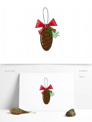卡通圣誕可愛松果可商用元素