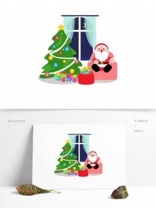 2018圣誕節可愛圣誕場景插畫可商用元素