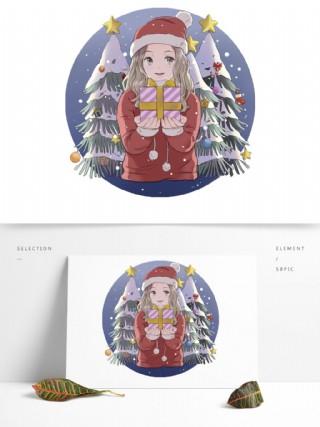 手繪動漫圣誕可愛女孩禮物下雪松樹場景