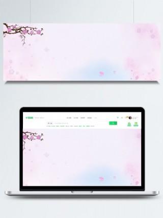 全原創粉色桃花古風banner水墨背景