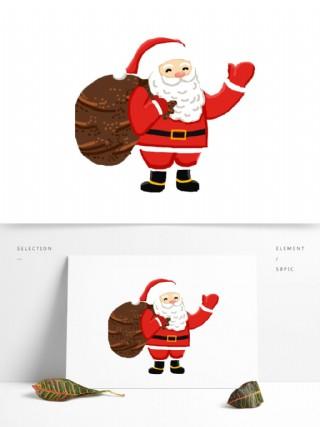 背着礼物打招呼的圣诞老人图案