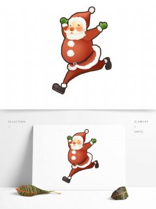 奔跑的圣诞老人图案元素