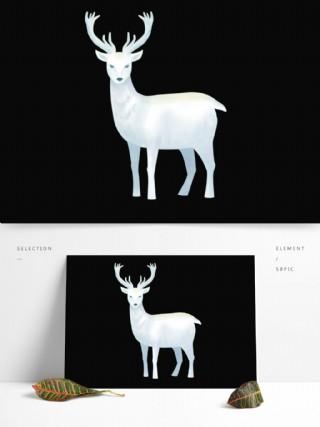 手绘白色麋鹿图案元素