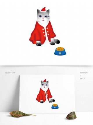 喜庆圣诞猫咪图案元素