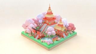 C4D中國風孟菲斯色系寺廟模型