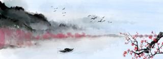 手繪櫻花中國風水墨山水背景