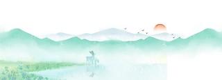 水墨綠清明節背景