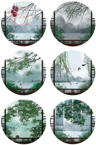 二十四節氣青綠水墨中國風免扣素材