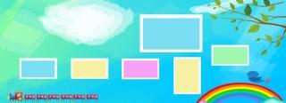 幾何漸變彩虹照片墻模板海報背景素材