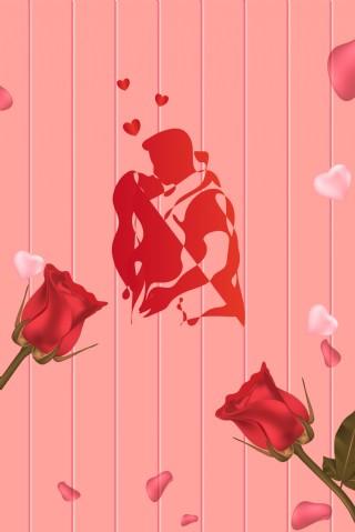 簡約浪漫接吻日背景