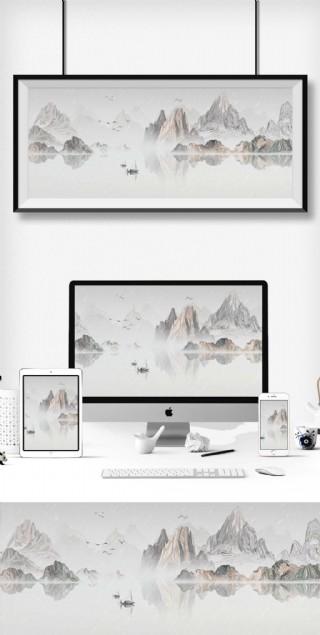 新中式大氣水墨風格中國風山水裝飾畫