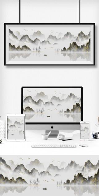 新中式大氣水墨風格中國風國潮風山水裝飾畫