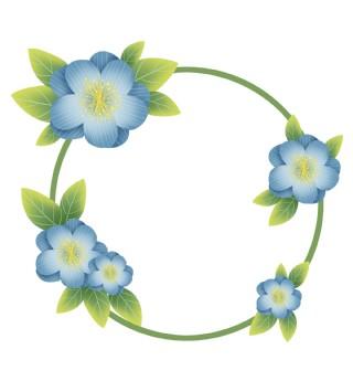 春季蓝色花朵文字框