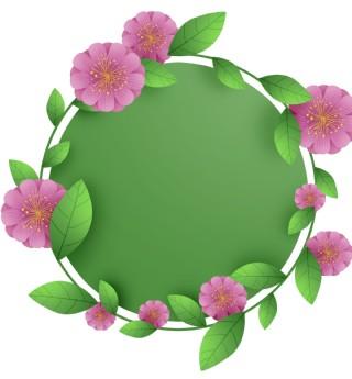 粉色花朵圆形标题框