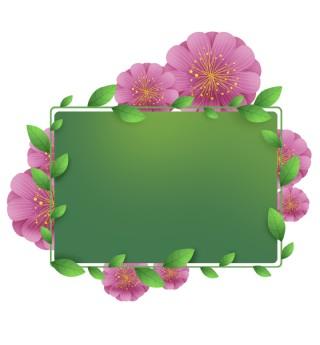 粉色花卉绿色植物文字框