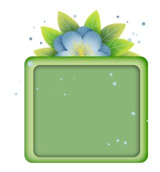 蓝色花朵绿色文字框