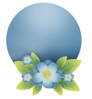 蓝色花朵圆形文字框