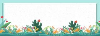 绿色春季花朵草木banner